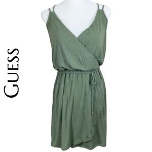 Guess- Army Green Wrap Dress Tank Too- Size S